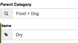 configure pet products categories
